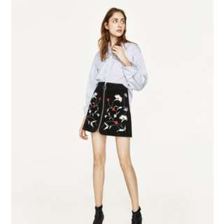 Authentic Zara Floral Embroidered Skirt