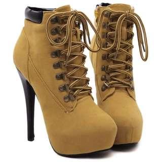 Platform lace up high heels