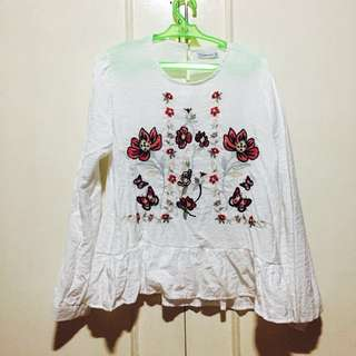 White Floral Blouse
