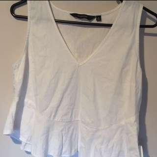 White flared glassons shirt