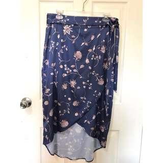 Used Zalora silk floral wrap around skirt