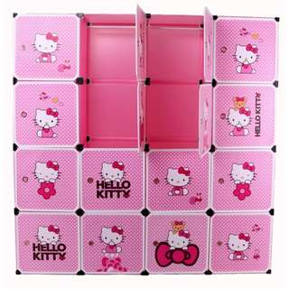 16 Cubes Hello Kitty DIY Wardrobe Cabinet with Shoe Rack (Pink)