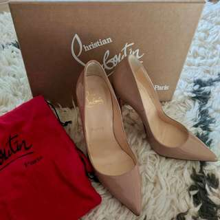 Christian Louboutin So Kate Nude Patent Sz 35