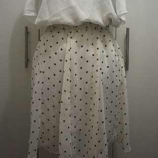 The Blacksheep Polka-dotted Chiffon Skirt - Pre-loved