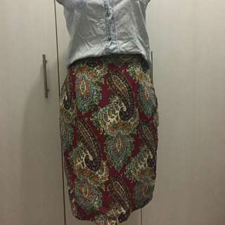The Berries Paisley Chiffon Skirt - Pre-loved