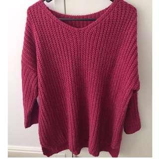 V neck long sleeve knit sweater one size