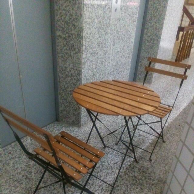 折疊桌椅1組(實心木板)非輕薄組合家具,7成新