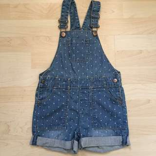 Polkadot Denim Overall Shorts