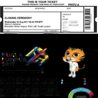 SELLING SEA GAMES CLOSING CEREMONY TICKET