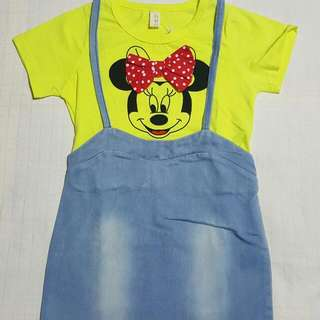 Korean Minnie Mouse Maong Jumper Dress