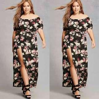 Plus Size Off Shoulder Maxi Dress