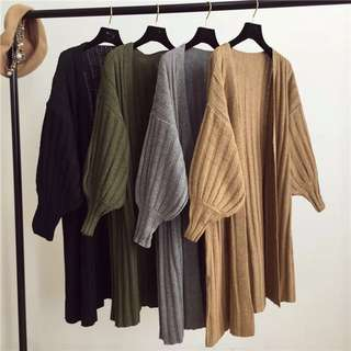 Korean casual wild V-neck long-sleeved sweater sweater cardigan jacket in the long section