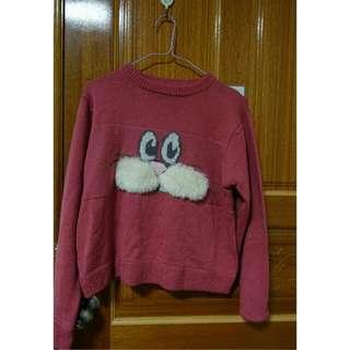 😍降價 兔子毛衣 藕粉 古著 長袖