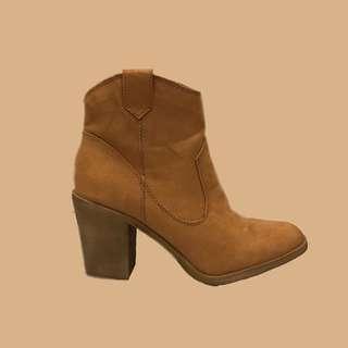 H&M歐美麂皮粗跟西部牛仔短靴踝靴