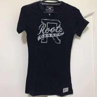 Roots tshirt 深藍 xs