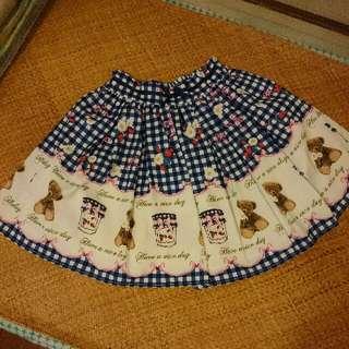 日系lolita可愛藍格半截裙