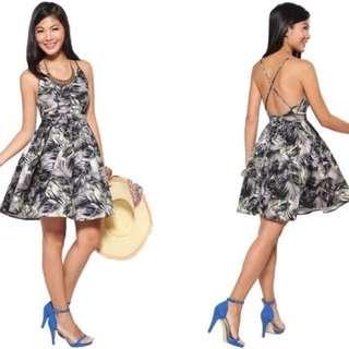 Love Bonito Floral Claudette Cross Back Dress Grey S