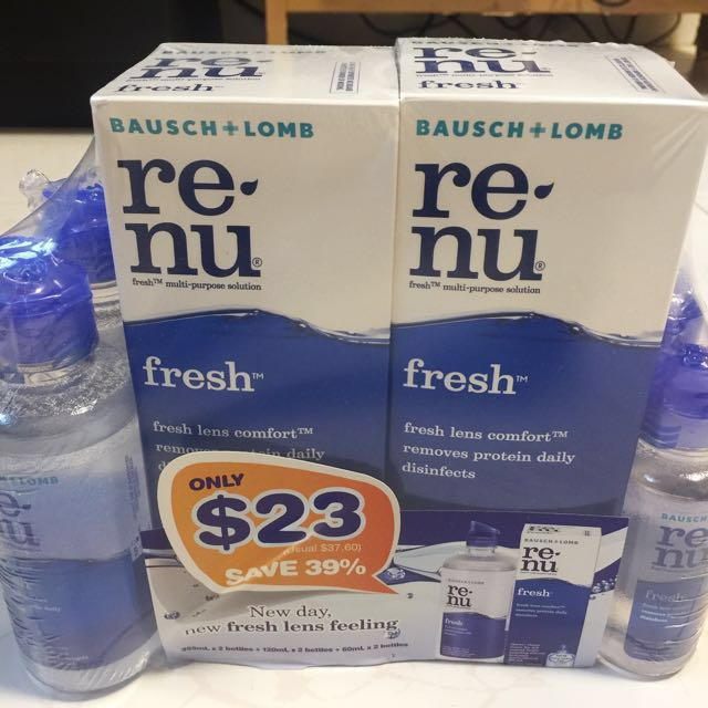 92d7208e8fb 2 Bottles of Bausch + Lomb Renu fresh Multi Purpose Solution for  23 ...