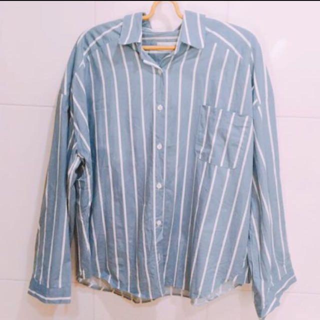 韓版水藍襯衫