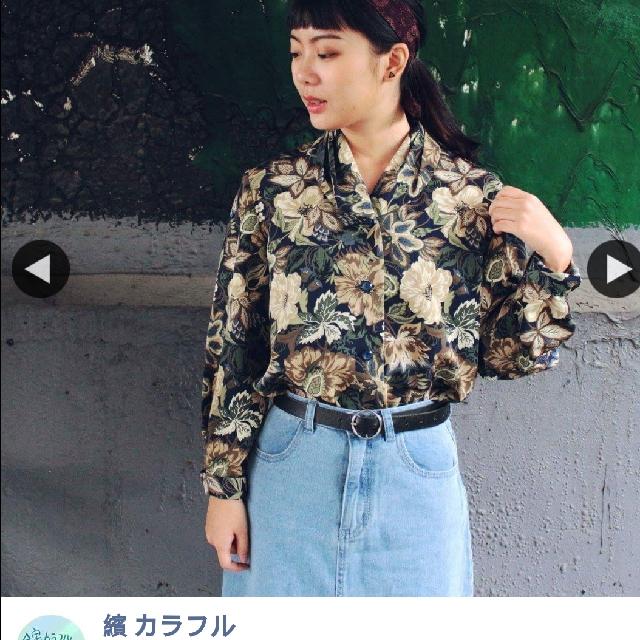 古着花苞領花朵絲質襯衫