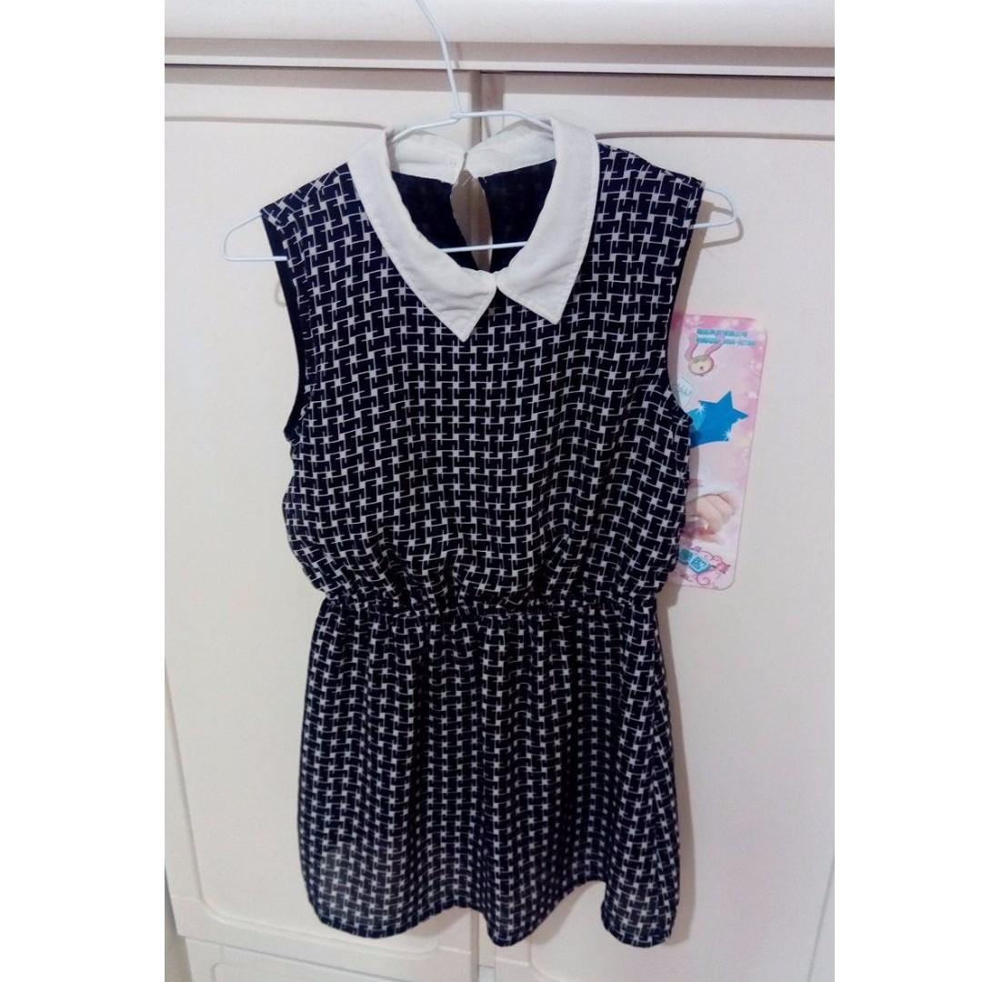 黑白格 雪紡洋裝