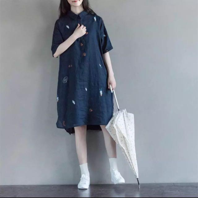 棉麻材質洋裝 森林系