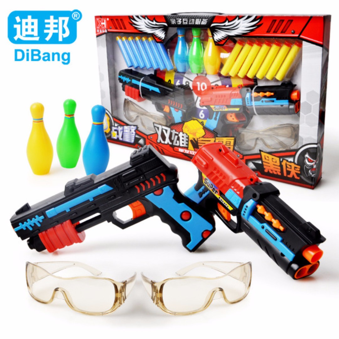大組 雙雄爭霸軟彈槍 戰警軟彈槍 射擊玩具 兒童玩具