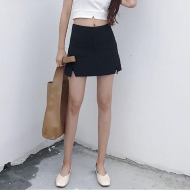 全新-黑色 韓 短裙 褲裙 窄裙 高腰 A字