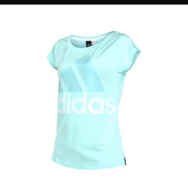 adidas湖水綠女短袖慢跑上衣M號