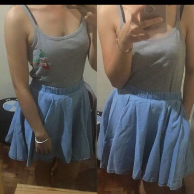 Soft Denim Skater Skirt