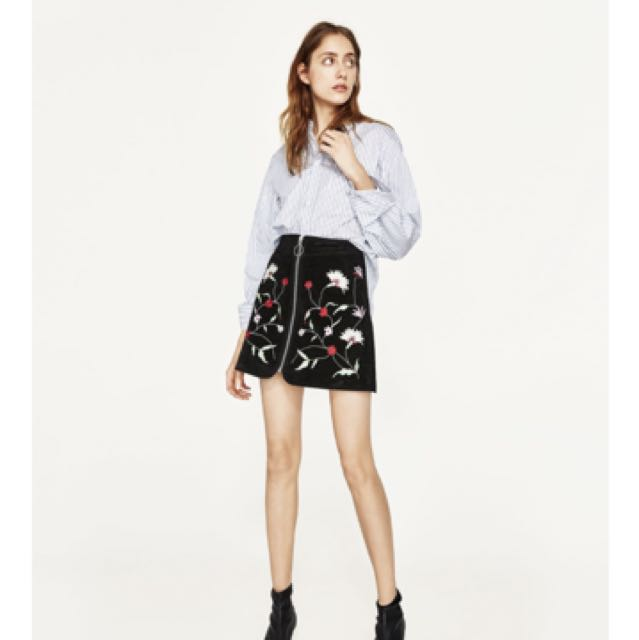 136582f32 Authentic Zara Floral Embroidered Skirt, Women's Fashion, Clothes, Dresses  & Skirts on Carousell