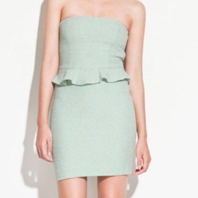 a1abee8b5d Authentic Zara Tweed Mint Tube Dress Xs S Peplum Trf Office Mds ...