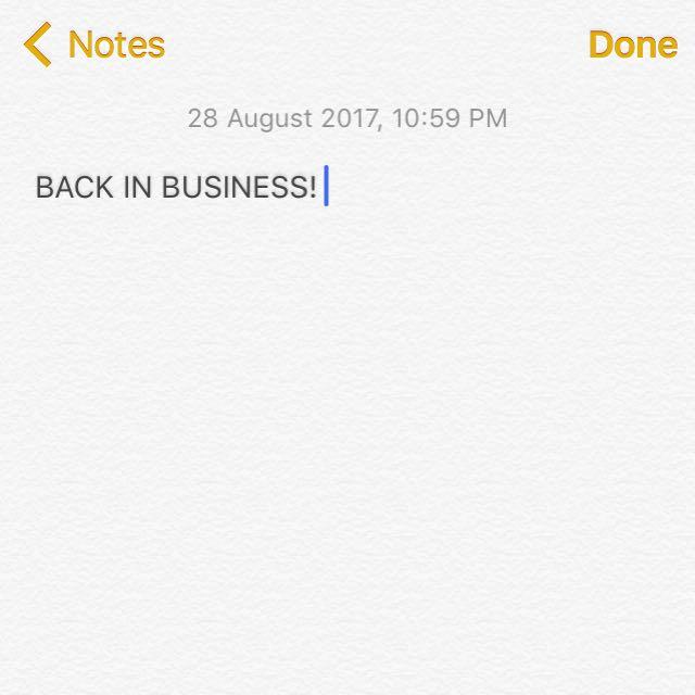 BACK IM BUSINESS