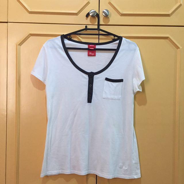 Bayo button down white round neck shirt