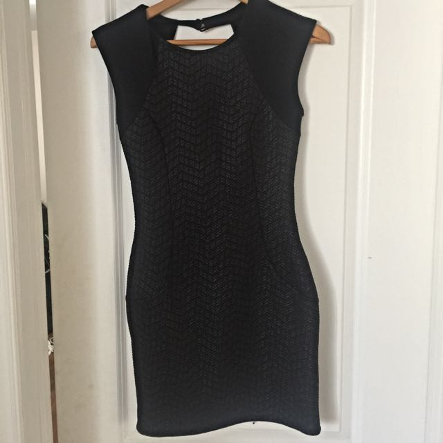 Black Dress - Brand New - Subtle Faux Leather Print