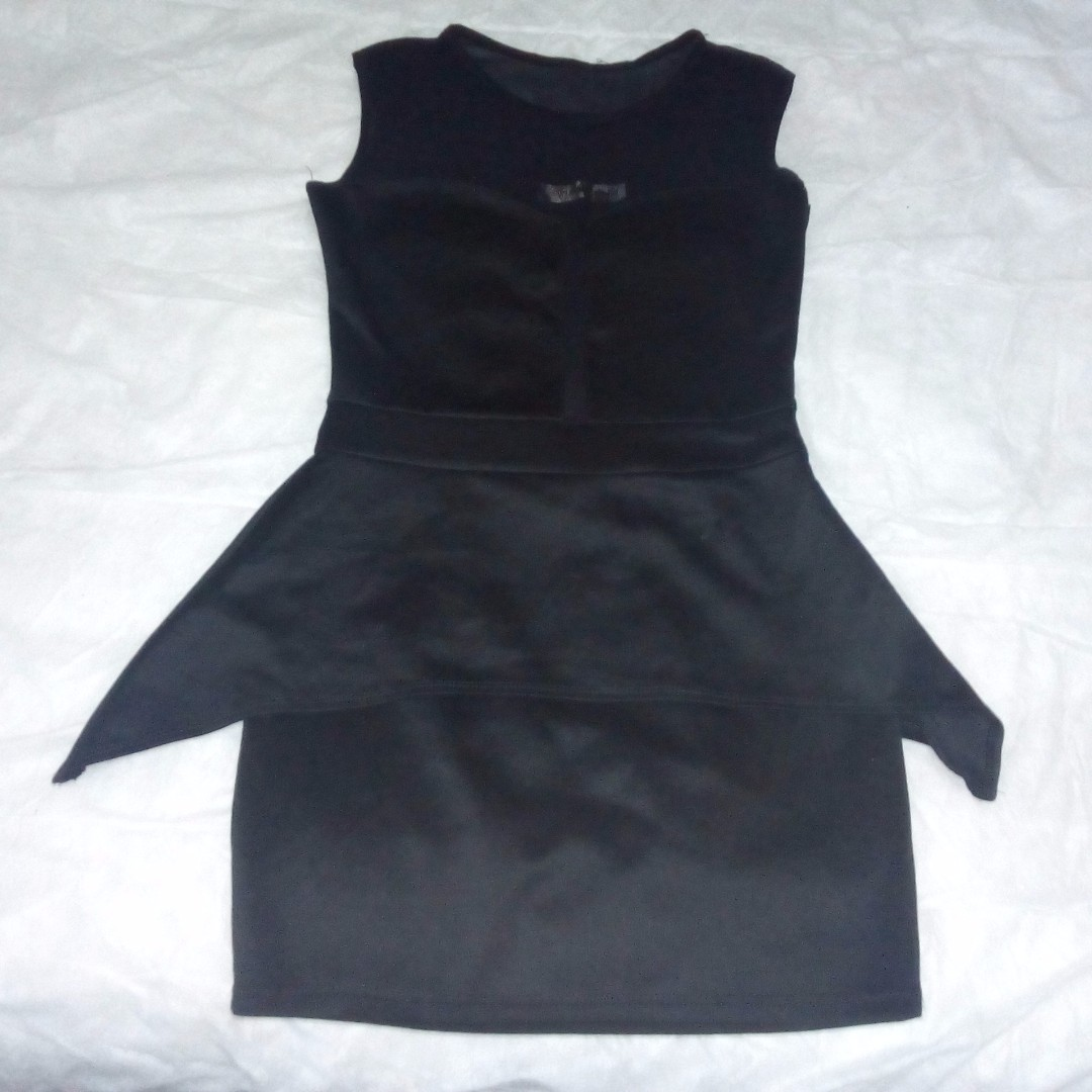 BLACK DRESS PEPLUM SKIRT SEE THROUGH