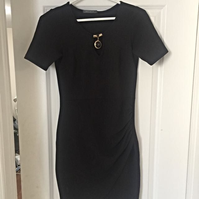 Black Dress With Necklace Embellishment