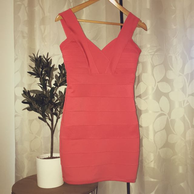 Blurr (size 8)- Peach Bandage Dress