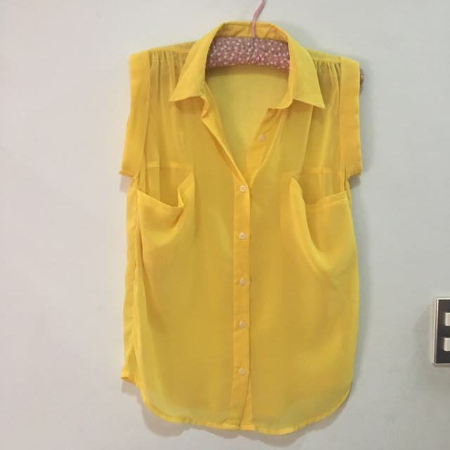 Charlie Yellow Chiffon Top