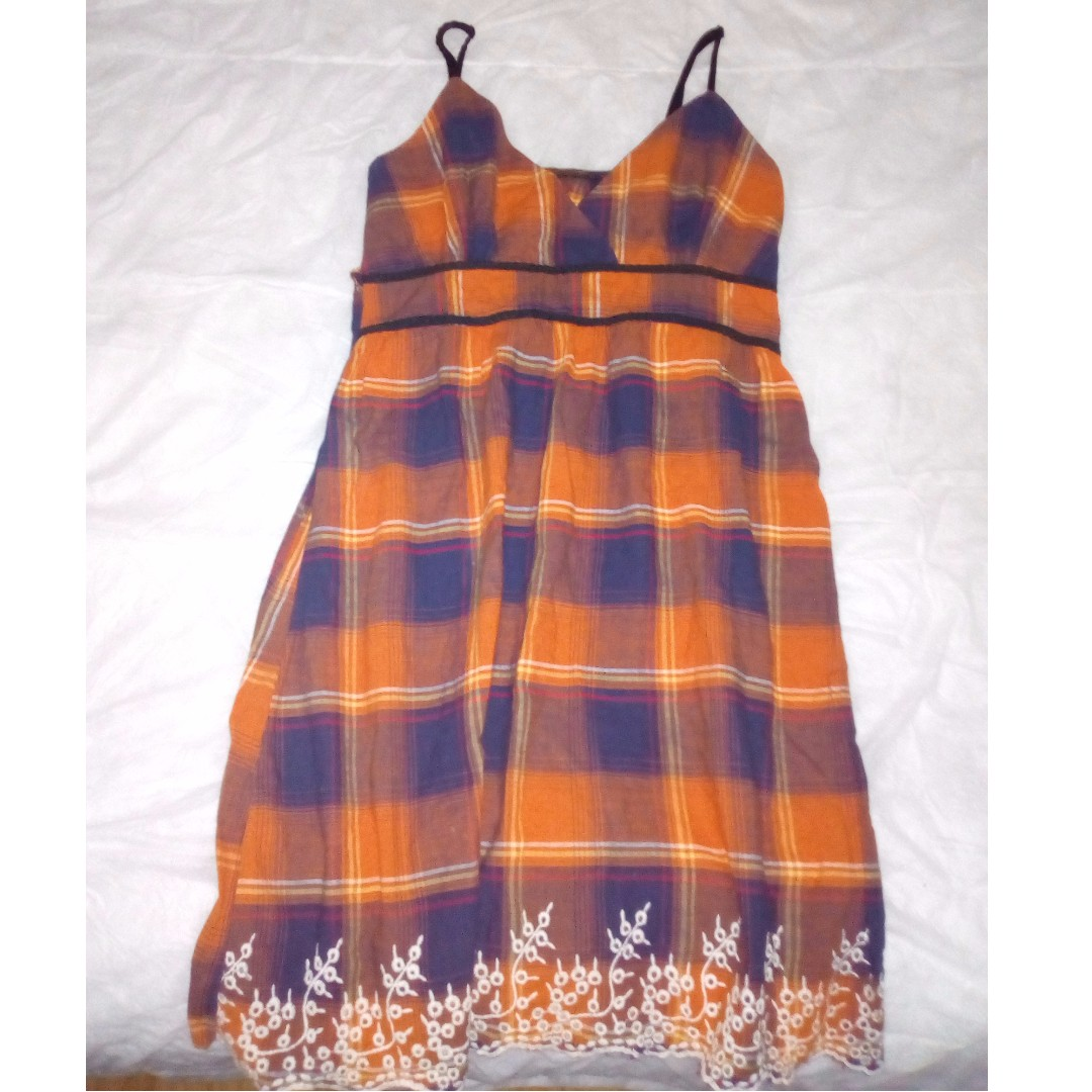CHIC SUN DRESS ORANGE PLAID