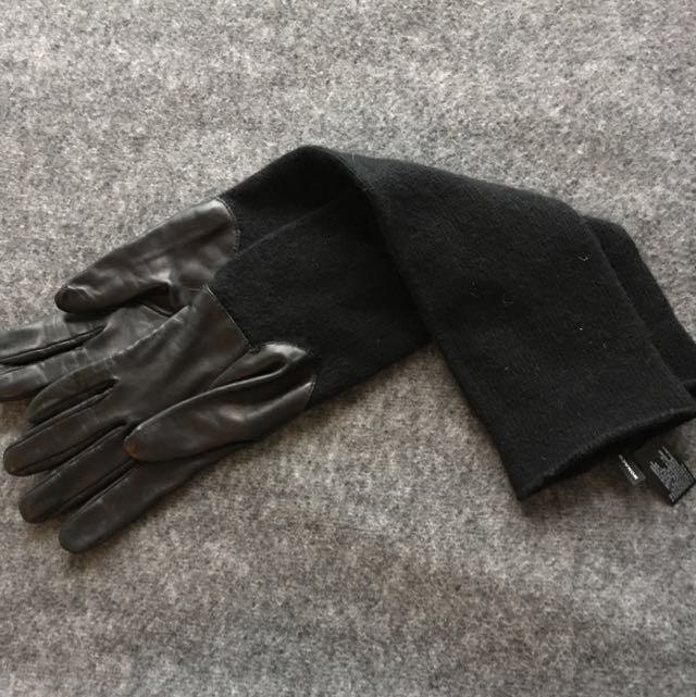 Club Monaco Leather And Wool Elbow Length Gloves