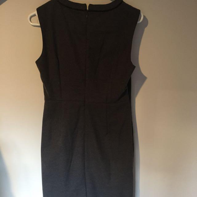 Dark grey dress with panel