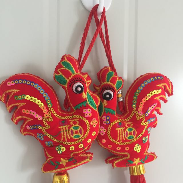 Decorative roosters with tassels