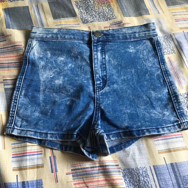 Denim Co Acid Wash Highwaist Shorts