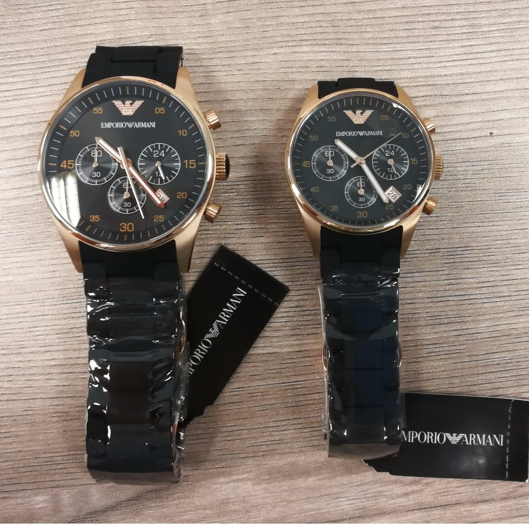 978c9524534a9 Emporio Armani couple watch AR5905 & AR5906, Luxury, Watches on Carousell