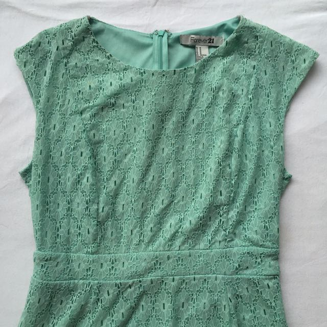F21 Sea Green Lace Dress