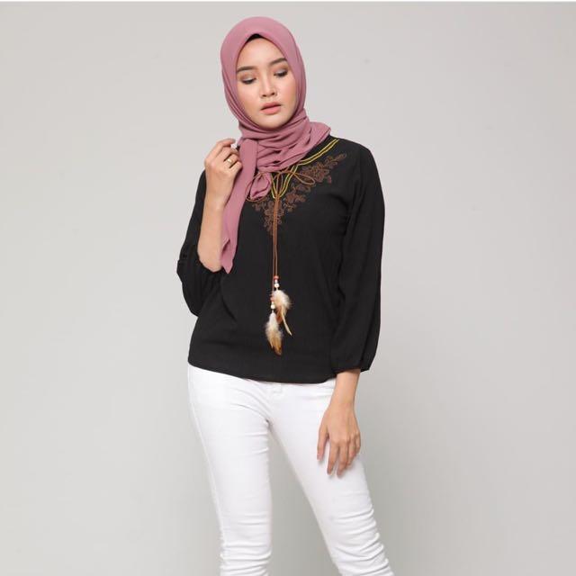 ae2a7fd0b6d Fea Embroidery Blouse, Women's Fashion, Muslimah Fashion on Carousell