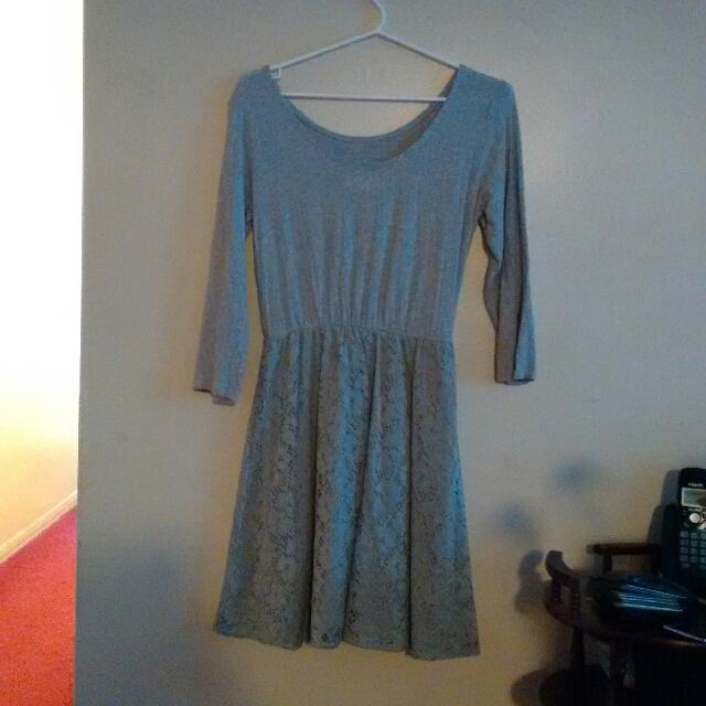 Grey Long Sleeved Dress
