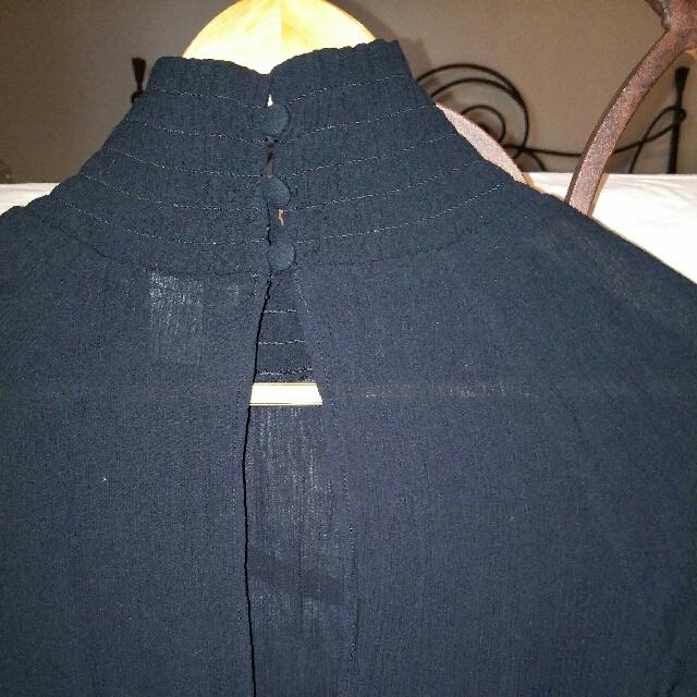 H&M Black High Neck Blouse
