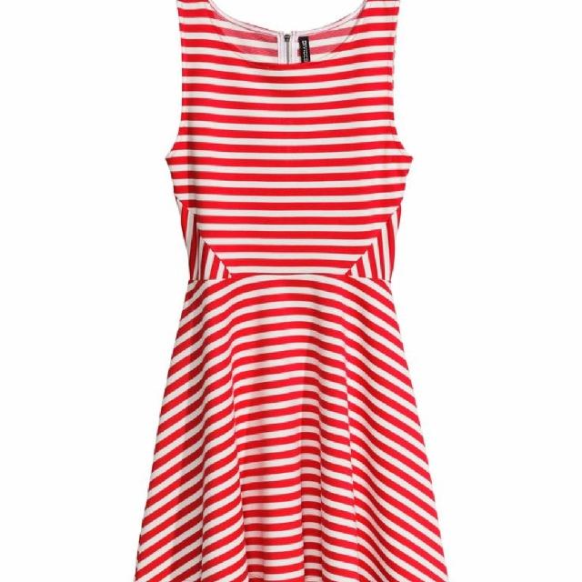afd5d9a48eda H M Red White Stripes Skater Dress